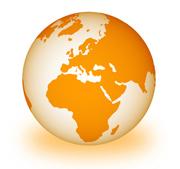 Weltkugel mit Europa im Zentrum